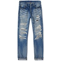 Denim By Vanquish And Fragment Used Remake Tapered Jean Blue