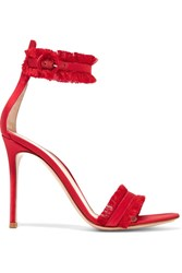 Gianvito Rossi Portofino Fringed Satin Sandals Red