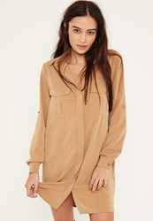 Missguided Camel Turn Up Sleeve Pocket Front Shirt Dress