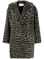 Harris Wharf London Leopard Print Faux Fur Coat Black