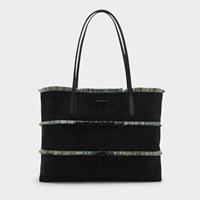 Charles And Keith Oversized Frayed Detail Tote Bag Black