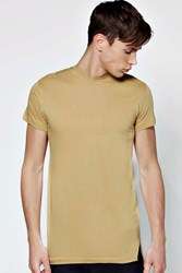 Boohoo Fit Longline T Shirt With Stepped Hem Stone