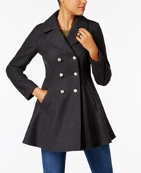Laundry By Shelli Segal Double Breasted Skirted Peacoat Charcoal