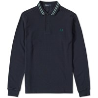 Fred Perry Long Sleeve Bomber Stripe Collar Polo Blue