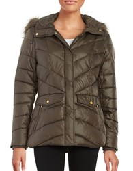 Jones New York Faux Fur Trimmed Puffer Coat Dark Taupe