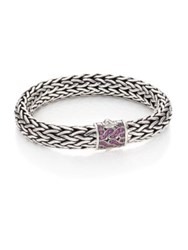John Hardy Classic Chain Pink Sapphire And Sterling Silver Large Bracelet Silver Pink Sapphire