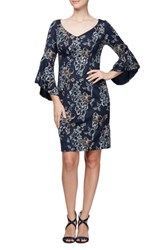 Alex Evenings Embroidered Cocktail Dress Navy Multi