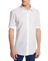 Brioni Short Sleeve Plaid Jacquard Shirt White