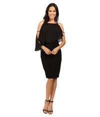 Adrianna Papell Lined Matte Jersey Banded Sheath Dress Black Women's Dress