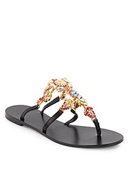 Versace Rhinestone Embellished Leather Thong Sandals