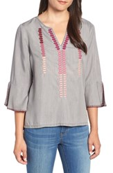 Billy T Ruffle Sleeve Embroidery Top Grey W Embroidery