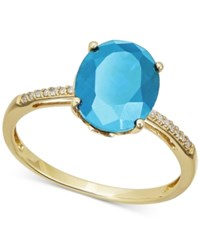 Macy's Swiss Blue Topaz 3 Ct. T.W. And Diamond Accent Ring In 14K Gold
