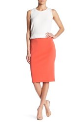 Catherine Malandrino Exposed Zipper Slim Skirt Orange