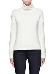 Vince Wool Cashmere Cowl Neck Sweater White