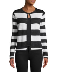 Neiman Marcus Sequin Striped Open Front Cashmere Cardigan Black White