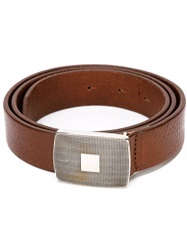 Eleventy Buckle Plaque Belt Brown