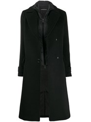 Emporio Armani Oversized Wool Coat Black
