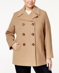 Calvin Klein Plus Size Wool Cashmere Blend Peacoat Only At Macy's Camel