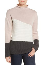 Vince Camuto Women's Colorblock Turtleneck Sweater Hush Pink