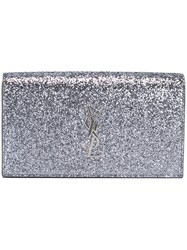 Saint Laurent 'Monogram' Clutch Grey