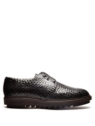 Dolce And Gabbana Woven Leather Derby Shoes Black