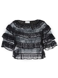 Red Valentino Ruffle Lace Top Black