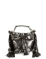 Brian Atwood Pippa Metallic Leather Bucket Bag Pewter
