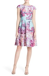 Women's Adrianna Papell Floral Print Scuba Fit And Flare Dress Dusty Mint