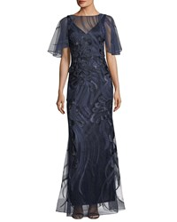 David Meister Flutter Sleeve Embroidered Mesh Evening Gown Navy