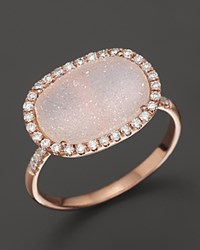 Meira T 14K Rose Gold Druzy And Diamond Ring Multi