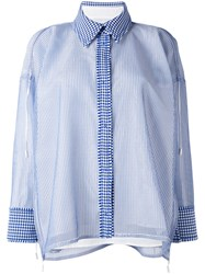 Steven Tai Semi Sheer Layer Checked Shirt Women Silk Cotton Polyester M Blue