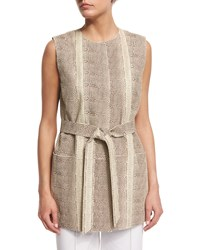 Lafayette 148 New York Faye Snake Embossed Leather Vest Meringue Multi Women's Meringue Multi
