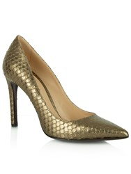 Daniel Modest Reptile Pointed Court Shoes Metallic