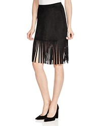 Aqua Faux Suede Fringe Mini Skirt Black