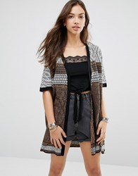 Only Siv Short Sleeve Cardigan Black Cream Details Brown