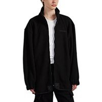 Vetements Pirate Embroidered Oversized Fleece Jacket Black