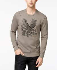 Inc International Concepts Men's Embroidered Eagle Destroyed Sweatshirt Created For Macy's Taupe Tone