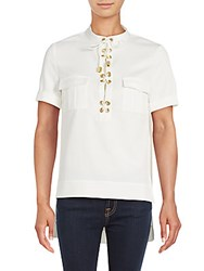 Finders Keepers Great Heights Lace Up Placket Shirt Cloud