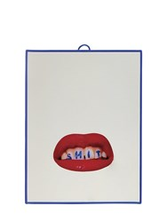 Seletti Small Lips And Teeth Printed Mirror Multicolor