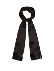 Saint Laurent Fringed Silk Georgette Scarf Black