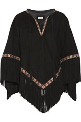 Talitha Embroidered Suede Cape Black