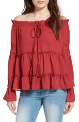 Sun And Shadow Women's Tiered Off The Shoulder Blouse Red Spice