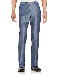 Brioni Virgin Wool And Linen Trousers Blue