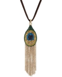 Lucky Brand Gold Tone Leather Peacock Fringe Pendant Necklace