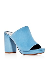 Robert Clergerie Abrice High Heel Platform Slide Sandals Blue