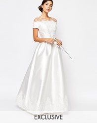 Chi Chi London Bridal Maxi Dress With Embroidery And Cap Sleeve White