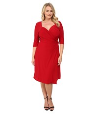 Kiyonna Sweetheart Knit Wrap Dress Ruby Rendezvous Red