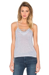 Monrow Lace Up Cami Blue