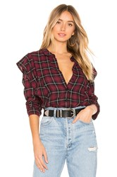 Bcbgeneration Ruffle Button Down Wine