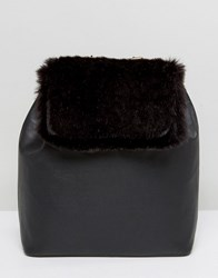 French Connection Backpack With Faux Fur Panel Black